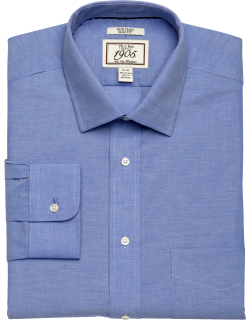 JoS. A. Bank Men's 1905 Collection Slim Fit Spread Collar Chambray Dress Shirt Clearance, French Blue, 16x35