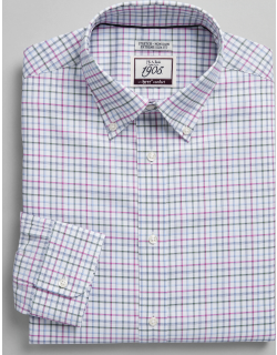 JoS. A. Bank Men's 1905 Collection Extreme Slim Fit Button-Down Collar Multi Check Dress Shirt with brrr°® comfort Clearance, Berry, 15 1/2x33