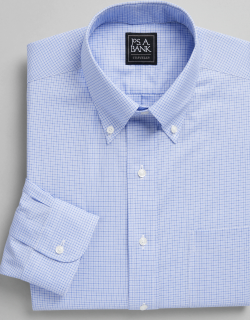 JoS. A. Bank Men's Traveler Collection Tailored Fit Button-Down Collar Check Dress Shirt Clearance, Blue, 16 1/2x34