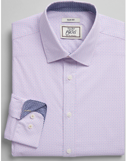 JoS. A. Bank Men's 1905 Collection Slim Fit Spread Collar Clover Dress Shirt Clearance, Lilac, 15 1/2x34