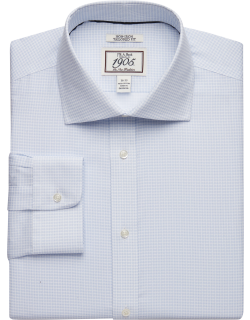 JoS. A. Bank Men's 1905 Collection Tailored Fit Spread Collar Mini Floral Dress Shirt Clearance, Light Blue, 15x33