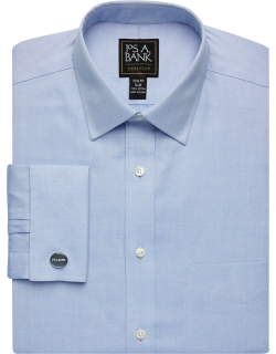 JoS. A. Bank Men's Traveler Collection Slim Fit Spread Collar French Cuff Dress Shirt Clearance, Blue, 16 1/2x35