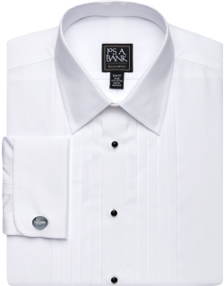 JoS. A. Bank Men's Executive Collection Slim Fit Point Collar French Cuff Formal Dress Shirt, White, 17x33