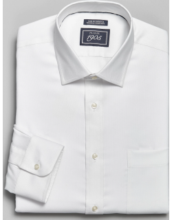 JoS. A. Bank Men's 1905 Navy Collection Slim Fit Spread Collar Oxford Dress Shirt, White, 16x32
