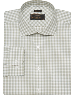 JoS. A. Bank Men's Reserve Collection Tailored Fit Spread Collar Gingham Check Dress Shirt - Big & Tall Clearance, Green, 15 1/2x36