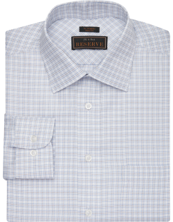 JoS. A. Bank Men's Reserve Collection Slim Fit Spread Collar Twill Plaid Dress Shirt Clearance, Brown, 15 1/2x32