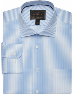 JoS. A. Bank Men's Reserve Collection Tailored Fit Spread Collar Stripe Dress Shirt Clearance, Blue, 16x34