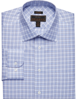 JoS. A. Bank Men's Reserve Collection Traditional Fit Spread Collar Check Dress Shirt - Big & Tall Clearance, Brown, 18 1/2x36 Tall