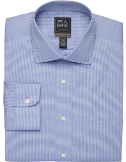 JoS. A. Bank Men's Travel Tech Collection Slim Fit Spread Collar Grid Shirt Clearance, Navy, 16 1/2x35