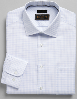 JoS. A. Bank Men's Reserve Collection Tailored Fit Spread Collar Double Check Dress Shirt - Big & Tall Clearance, Blue, 18 1/2x35 Big