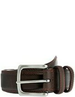 Dents Men's Leather Belt With Contrast Colour Stitching In Brown/red
