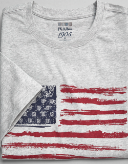 JoS. A. Bank Men's 1905 Collection Tailored Fit Crew Neck American Flag T-Shirt - Big & Tall Clearance, Light Grey, XX Large