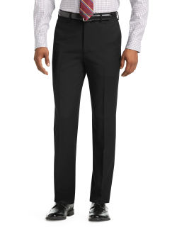 JoS. A. Bank Men's 1905 Collection Tailored Fit Flat Front Textured Suit Separate Pants, Black, 34 Short