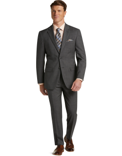 JoS. A. Bank Men's 1905 Collection Tailored Fit Tic Weave Nativa™ Wool Suit with brrr°® comfort Clearance, Grey, 43 Regular