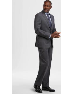 JoS. A. Bank Men's Reserve Collection Tailored Fit Glen Plaid REDA 1865 Sustainawool™ Suit, Grey, 38 Regular