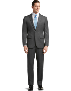 JoS. A. Bank Men's Traveler Collection Slim Fit Solid Suit Clearance, Cambridge Grey, 40 Long