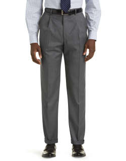 JoS. A. Bank Men's Signature Collection Traditional Fit Pleated Front Suit Separates Dress Pants - Big & Tall Clearance, Mid Grey, 48 Long