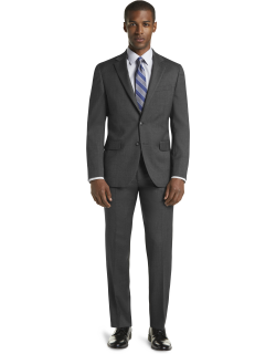 JoS. A. Bank Men's 1905 Collection Slim Fit Tic Weave Nativa™ Suit with brrr°® comfort Clearance, Charcoal, 42 Regular