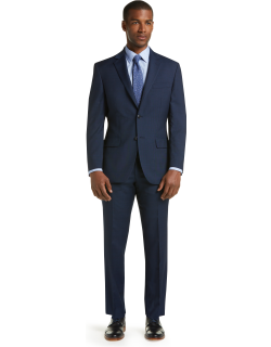 JoS. A. Bank Men's 1905 Collection Tailored Fit Plaid Nativa™ Wool Suit with brrr°® comfort Clearance, Blue, 40 Long