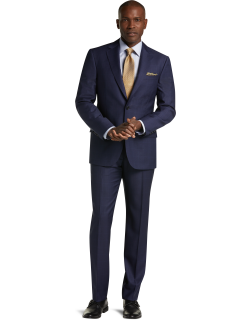 JoS. A. Bank Men's Reserve Collection Tailored Fit Windowpane Plaid REDA 1865 Sustainawool™ Suit - Big & Tall, Navy, 50 Long