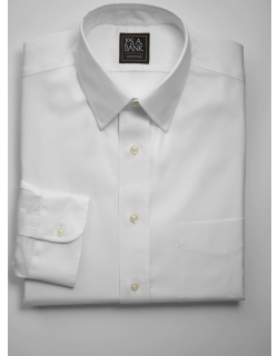 JoS. A. Bank Men's Traveler Collection Traditional Fit Point Collar Dress Shirt - Big & Tall, White, 17x36