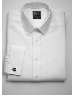 JoS. A. Bank Men's Traveler Collection Tailored Fit Point Collar French Cuff Dress Shirt Clearance, White, 16 1/2x33