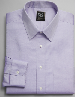 JoS. A. Bank Men's Traveler Collection Tailored Fit Point Collar Dress Shirt Clearance, New Purple, 17 1/2x35