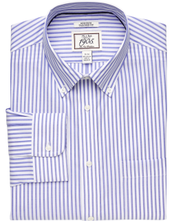 JoS. A. Bank Men's 1905 Collection Tailored Fit Button-Down Collar Bengal Stripe Dress Shirt Clearance, Blue/White, 16 1/2x34