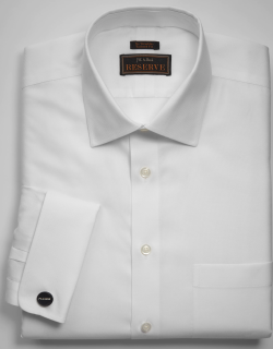 JoS. A. Bank Men's Reserve Collection Tailored Fit Spread Collar Textured Dress Shirt, White, 15x33