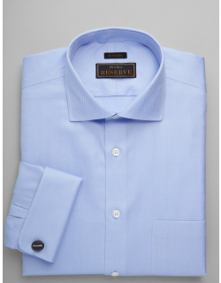 JoS. A. Bank Men's Reserve Collection Traditional Fit Spread Collar Herringbone Dress Shirt Clearance, Blue, 17x35