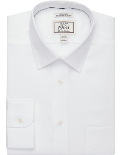 JoS. A. Bank Men's 1905 Collection Extreme Slim Fit Spread Collar Dress Shirt - Big & Tall Clearance, White, 16 1/2x36