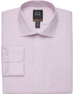JoS. A. Bank Men's Travel Tech Collection Tailored Fit Spread Collar Grid Shirt - Big & Tall Clearance, Berry, 18x34 Big