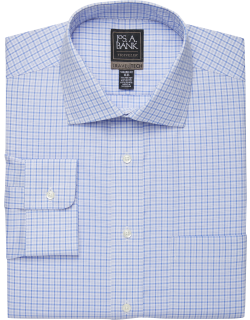 JoS. A. Bank Men's Travel Tech Collection Tailored Fit Spread Collar Plaid Shirt Clearance, Blue, 16 1/2x32