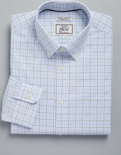 JoS. A. Bank Men's 1905 Collection Tailored Fit Button-Down Collar Dobby Check Repreve® Dress Shirt, Green, 17 1/2x33