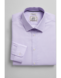 JoS. A. Bank Men's 1905 Collection Tailored Fit Spread Collar Medallion Print Dress Shirt, Purple, 17 1/2x33