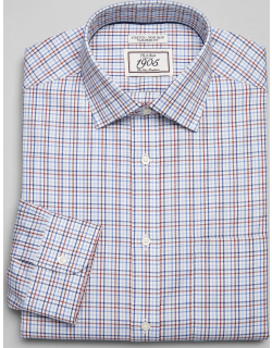 JoS. A. Bank Men's 1905 Collection Tailored Fit Spread Collar Check Dress Shirt, Rust, 15x32