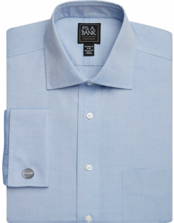 JoS. A. Bank Men's Traveler Collection Tailored Fit Spread Collar French Cuff Dress Shirt Clearance, Blue, 17 1/2x35