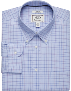 JoS. A. Bank Men's 1905 Collection Tailored Fit Button-Down Grid Dress Shirt Clearance, Purple, 17x35