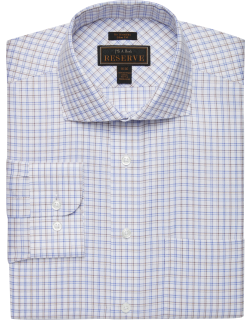 JoS. A. Bank Men's Reserve Collection Slim Fit Cutaway Collar Shadow Check Dress Shirt Clearance, Brown, 16 1/2x32