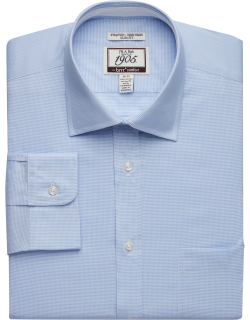 JoS. A. Bank Men's 1905 Collection Tailored Fit Spread Collar Mini Check Dress Shirt with brrr°? comfort Clearance, Light Blue, 16 1/2x32