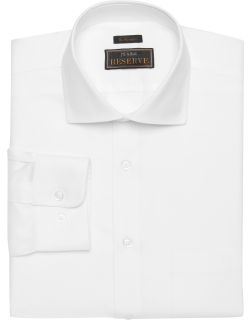 JoS. A. Bank Men's Reserve Collection Traditional Fit Spread Collar Twill Dress Shirt - Big & Tall, White, 16 1/2x37 Tall