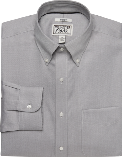 JoS. A. Bank Men's 1905 Collection Slim Fit Button-Down Collar Oxford Dress Shirt Clearance, Grey, 16x35