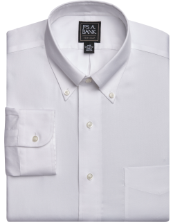 JoS. A. Bank Men's Traveler Collection Traditional Fit Button-Down Collar Dress Shirt - Big & Tall, White, 18x36 Tall