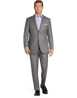 JoS. A. Bank Men's Signature Gold Collection Tailored Fit Herringbone Suit Clearance, Pearl Gry, 39 Long