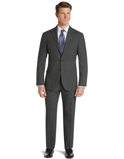 JoS. A. Bank Men's 1905 Collection Slim Fit Mini Check Suit with brrr°® comfort Clearance, Charcoal, 43 Long