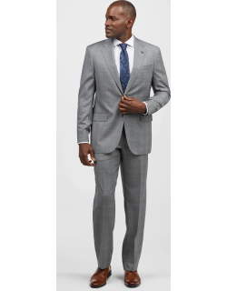 JoS. A. Bank Men's Reserve Collection Tailored Fit Plaid Liberty Suit - Big & Tall, Grey, 48 Long