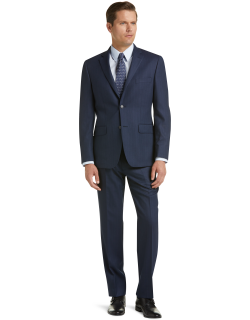 JoS. A. Bank Men's Traveler Collection Tailored Fit Pinstripe Suit Clearance, Navy, 40 Long