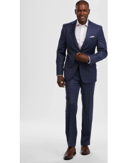 JoS. A. Bank Men's Reserve Collection Tailored Fit Windowpane Plaid REDA 1865 Sustainawool™ Suit, Blue, 43 Long
