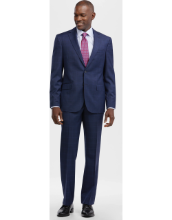 JoS. A. Bank Men's Reserve Collection Tailored Fit Windowpane Suit - Big & Tall, Blue, 48 Regular