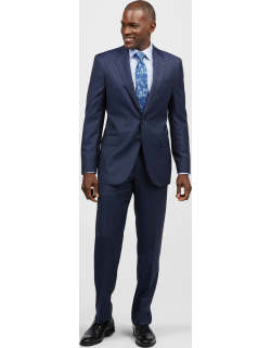 JoS. A. Bank Men's Reserve Collection Tailored Fit Wide Stripe Liberty Suit - Big & Tall, Navy, 48 Long